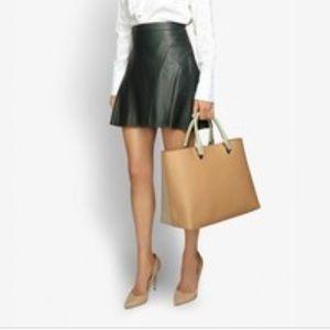 Derek Lam Green Leather Mini Skirt